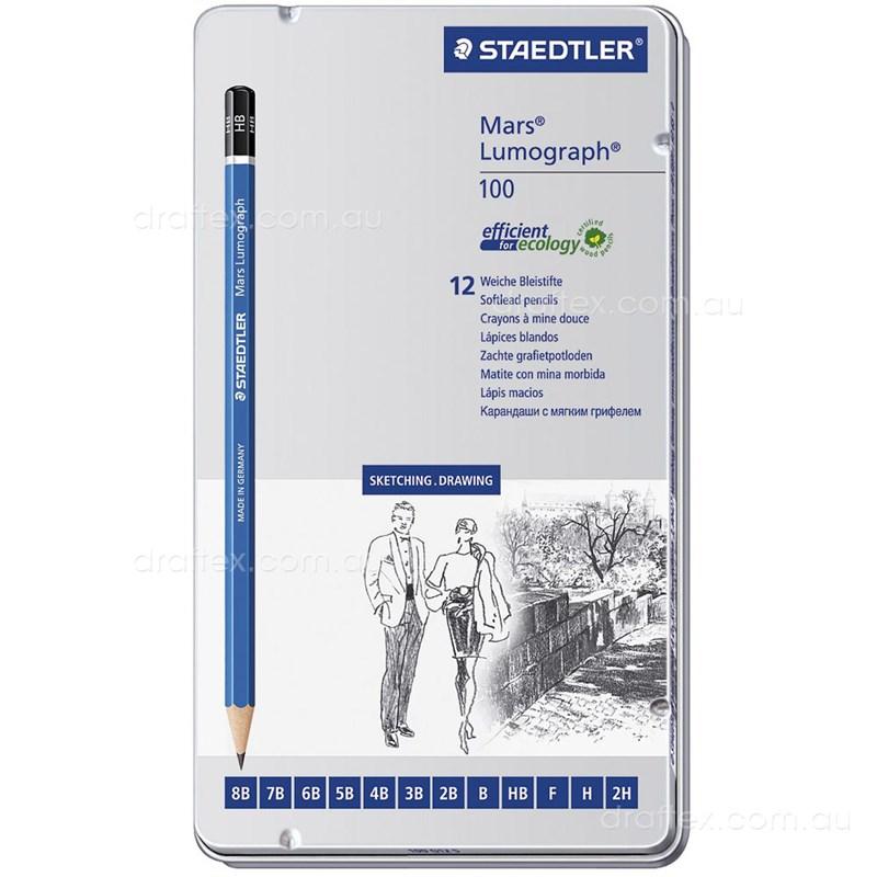 12 Staedtler Mars Lumograph 100 Pencils H 2H 3H