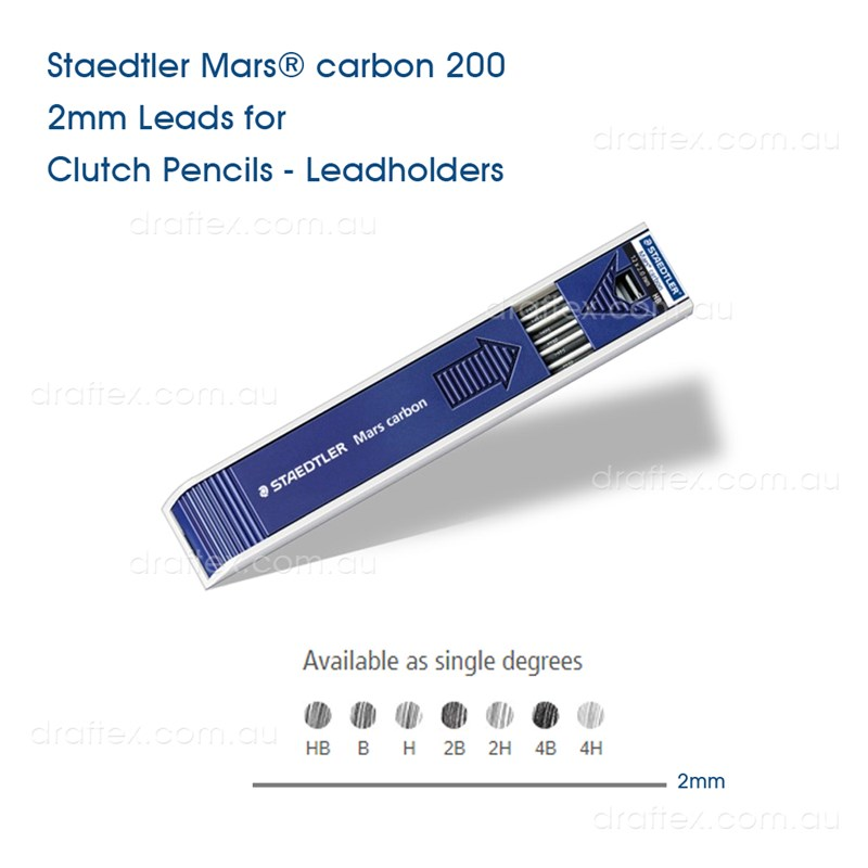 200Mars Staedtler Mars Carbon 2Mm Leads For Clutch Pencils Leadholders