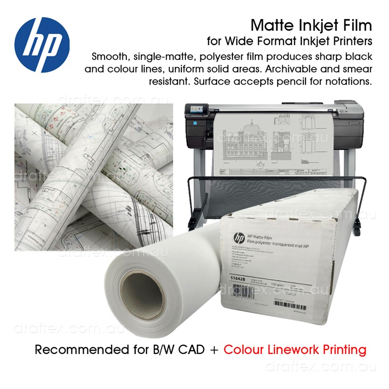 51642A 51642B Hp Matte Inkjet Film 127Microns 38 Metres Available In 2 Roll Widths