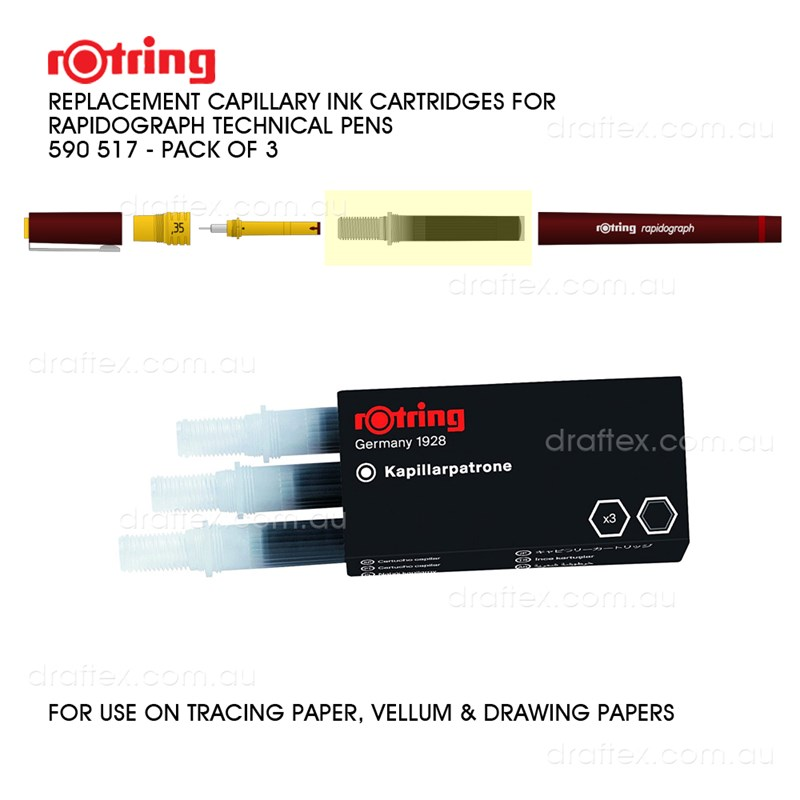 590517 Rotring Rapidograph Capillary Ink Cartridges For Rapidograph Technical Pens Pk 3