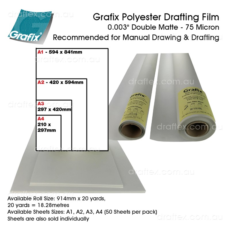 Filmxxx Grafix Polyester Drafting Film 75 Micron For Manual Drawing Available In Rolls And Cut Sheets