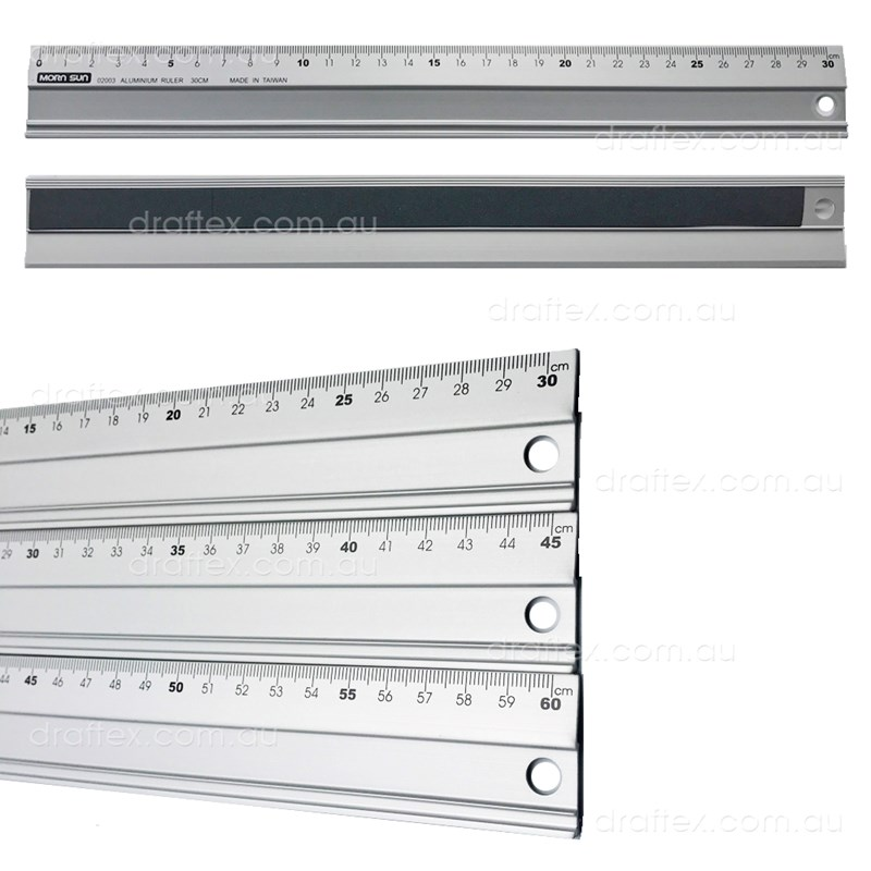 Acrns30 45 60 Mornsun Aluminium Cutting Ruler With Non Slip Base In 30 45 60Cm Lengths