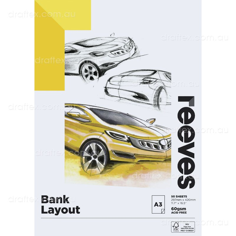 Bankpada3 Reeves A3 60Gsm Bank Paper Pad 50Sheets