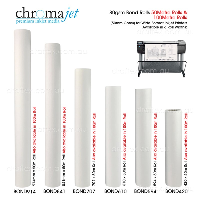 Bondxxx Chromajet 80Gsm Bond Rolls 50Mm Cores For Wide Format Inkjet Printers 6 Roll Widths 50 And 100 Metre Legth