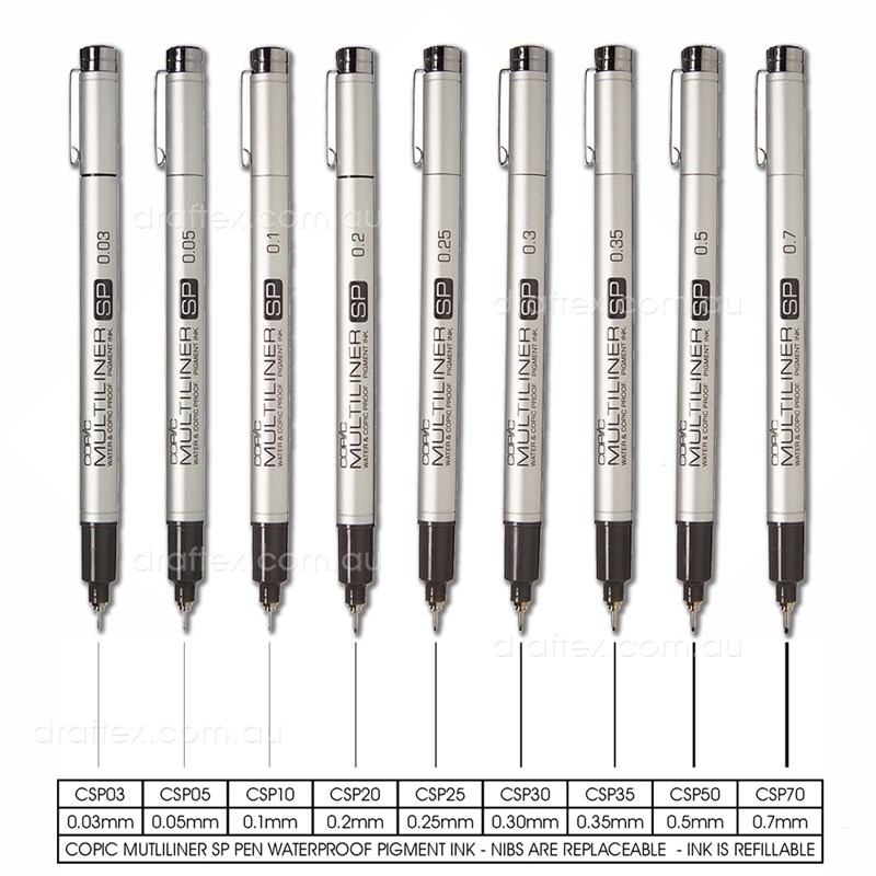 Csp Copic Multiliner Sp Pen Range
