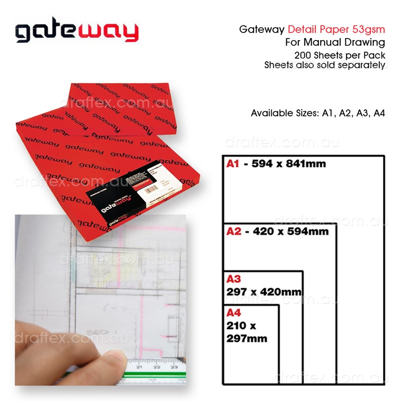 Detailxx Gateway Detail Paper 53Gsm Cut Sheets Pk125 Available Sizes A1 A2 A3 A4
