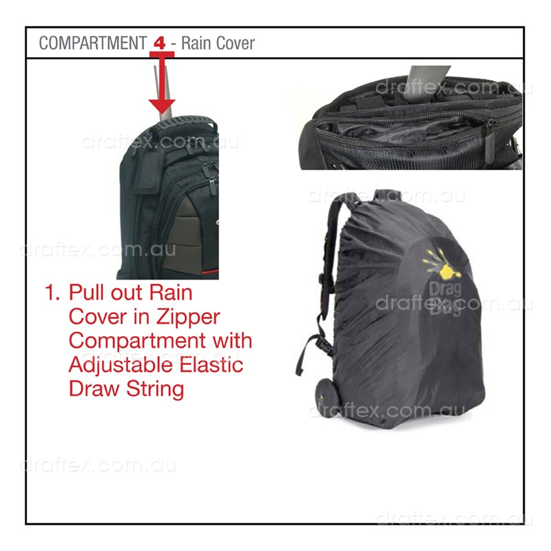 Dragbag Altitude Ergonomic Backpack Trolely Bag Features   Compartment 4 Raincover Image 4