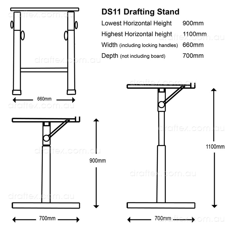 Ds11 Isomars Drafting Stand Dimensions Minimum Max Heights Diagram