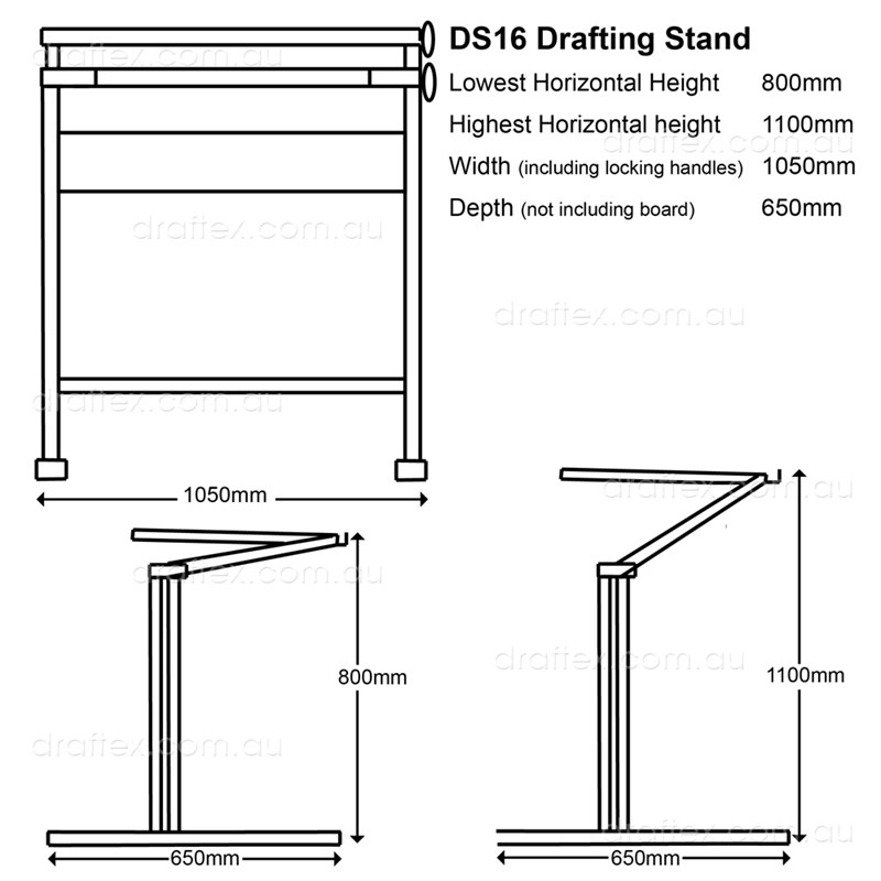 Ds16 Isomars Drafting Stand Dimensions Minimum Max Heights Diagram