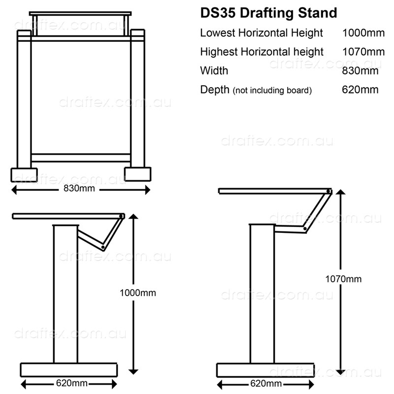 Ds35 Isomars Drafting Stand Dimensions Minimum Max Heights Diagram
