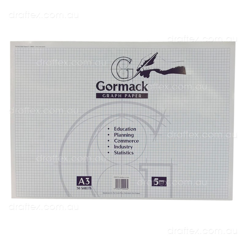 Graphpadc021xa3 Gormack Graph Paper Pad C021x 50 Sheets A3 5Mm Grid