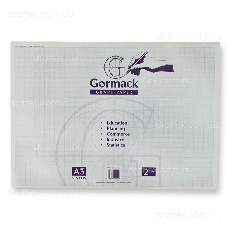 Graphpadc052xa3 Gormack Graph Paper Pad C052x 50 Sheets A3 2Mm Grid