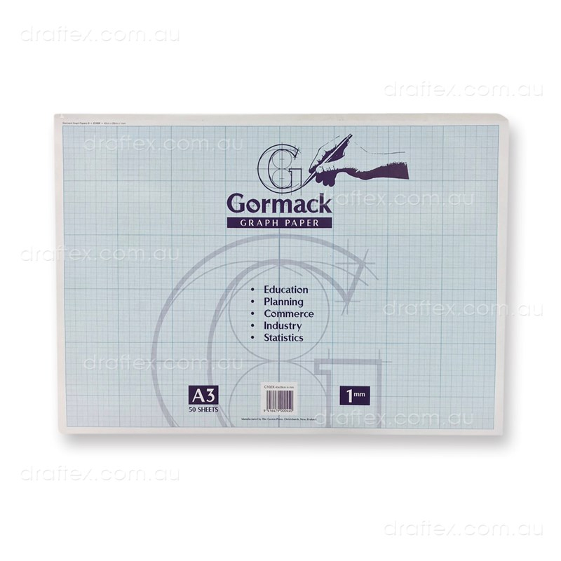 Graphpadc102xa3 Gormack Graph Paper Pad C102x 50 Sheets A3 1Mm Grid