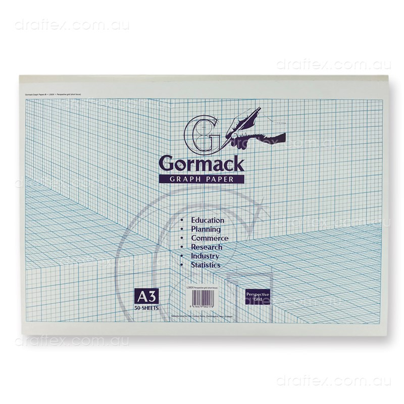 Graphpadl300xa3 Gormack Graph Paper Pad L300x 50 Sheets A3 Perspective Grid