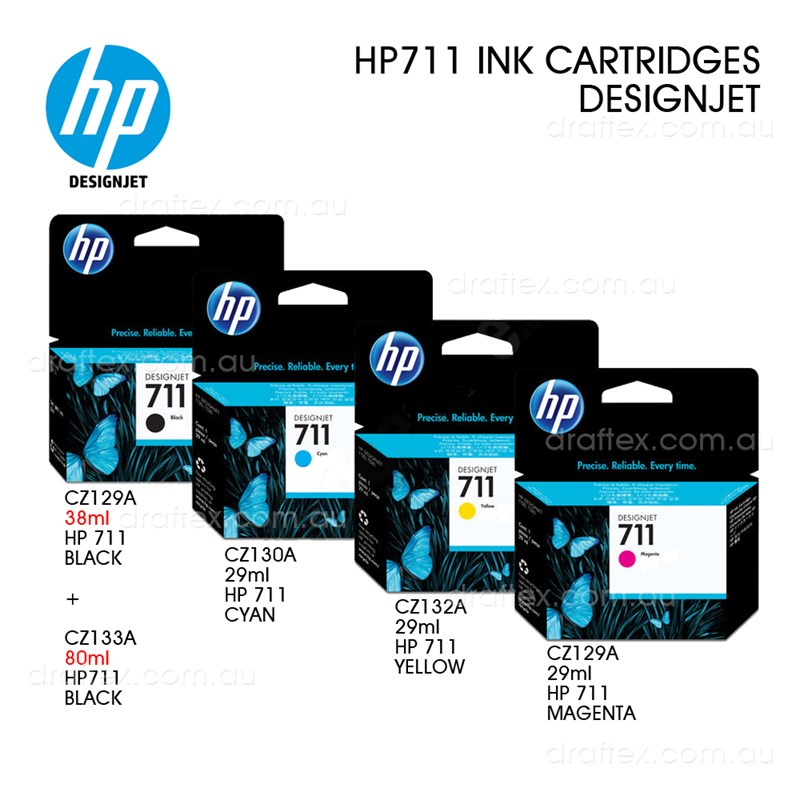 Hp 711 Ink Cartridges Black 80Ml Black 38Ml Colours 29Ml