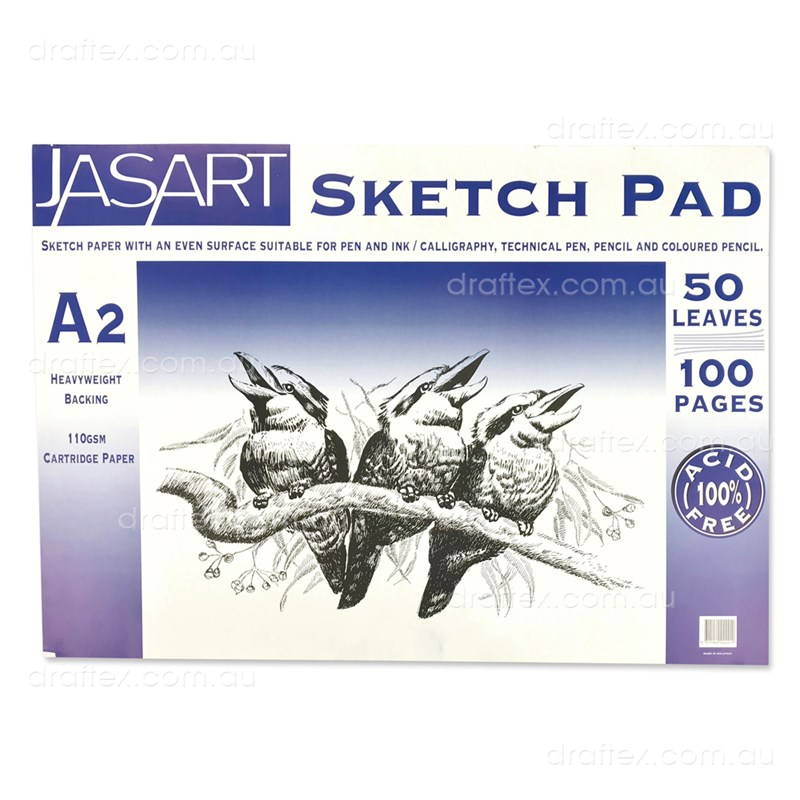 Jasarta2 Jasart Sketch Pad 50 A2 Sheets 100Gsm Cartridge Paper