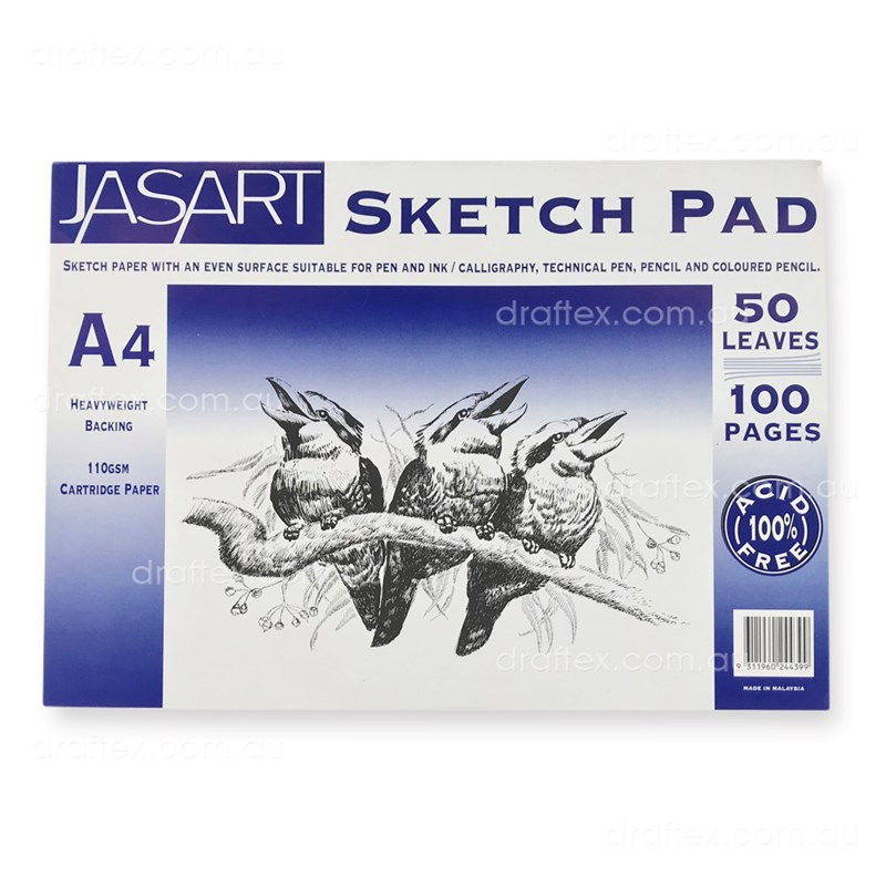 Jasarta4 Jasart Sketch Pad 50 A4 Sheets 100Gsm Cartridge Paper