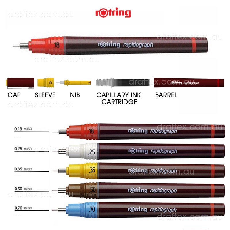Rappen Rotring Rapidograph Technical Drawing Pens Available Sizes 18 25 35 50 70