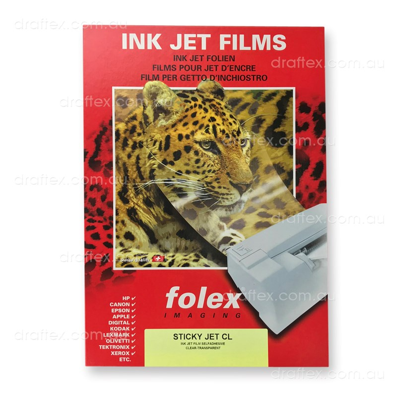 Stickyjeta4bx Folex Sicky Jet Cl Self Adhesive Clear Inkjet Film Box 50 Sheets