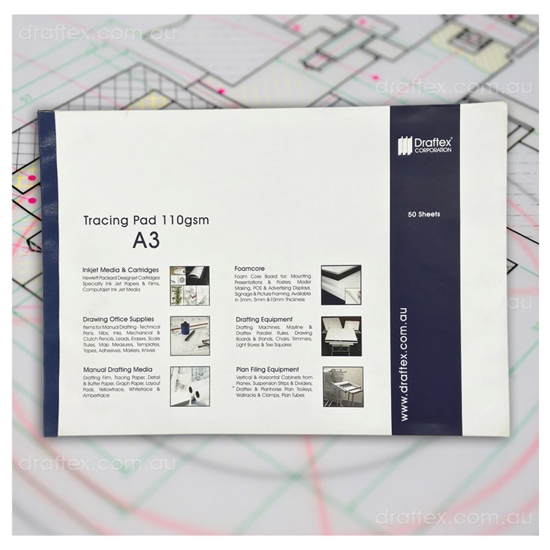Trcada3 Draftex Trace Pad 50 A3 Sheets 112Gsm Gateway Tracing Paper