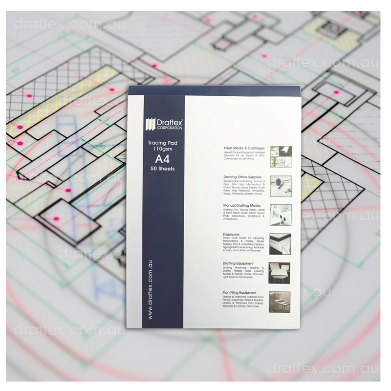 Trcada4 Draftex Trace Pad 50 A4 Sheets 112Gsm Gateway Tracing Paper
