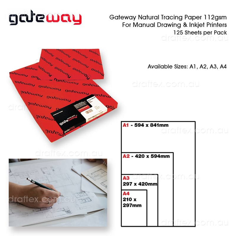 Trcxx Gateway Tracing Paper 112Gsm Cut Sheets Pk125 Available Sizes A1 A2 A3 A4