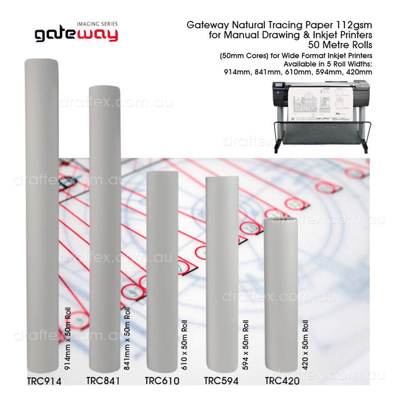 Trcxxx Gateway 112Gsm Natrual Trace 50 Metre Rolls For Inkjet Printers And Manual Drawing R5 Rolls Widths