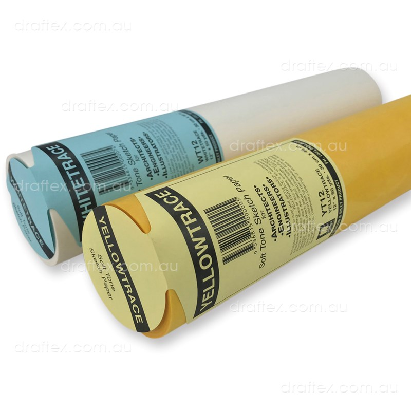 Wt12 Yt12 Draftex Yellowtrace Whitetrace Soft Tone Sketch Paper 27Gsm Roll 12Inch X 50 Yards